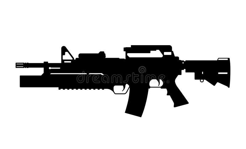 Silhueta preta da metralhadora com o lançador de granadas no fundo branco Arma automática do exército dos EUA ilustração stock