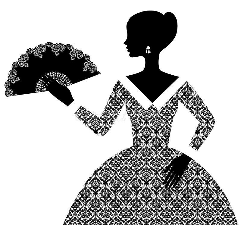 Silhueta preta da mulher no vestido decorativo retro com fá aberto ilustração stock