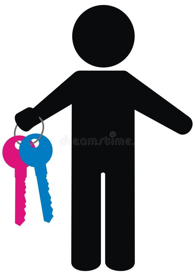Silhueta preta da pessoa e das chaves, ícone do vetor ilustração do vetor
