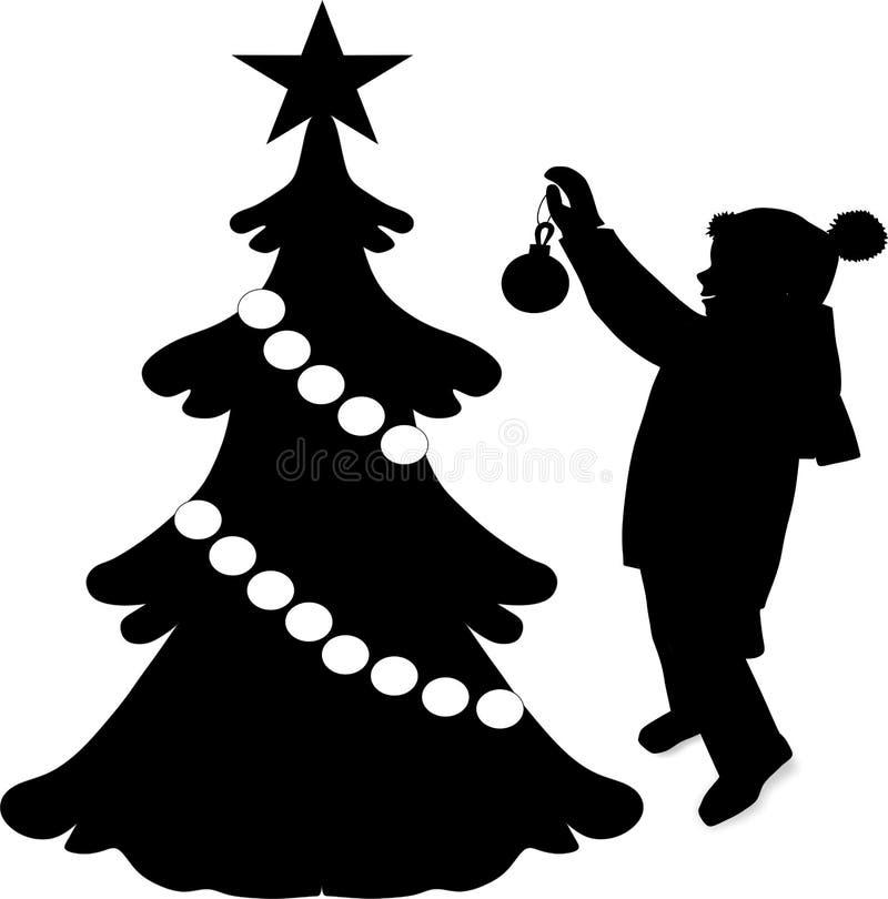 Silhueta preta da sombra no fundo branco, do bebê do vestido árvore de Natal acima, vetor ilustração stock