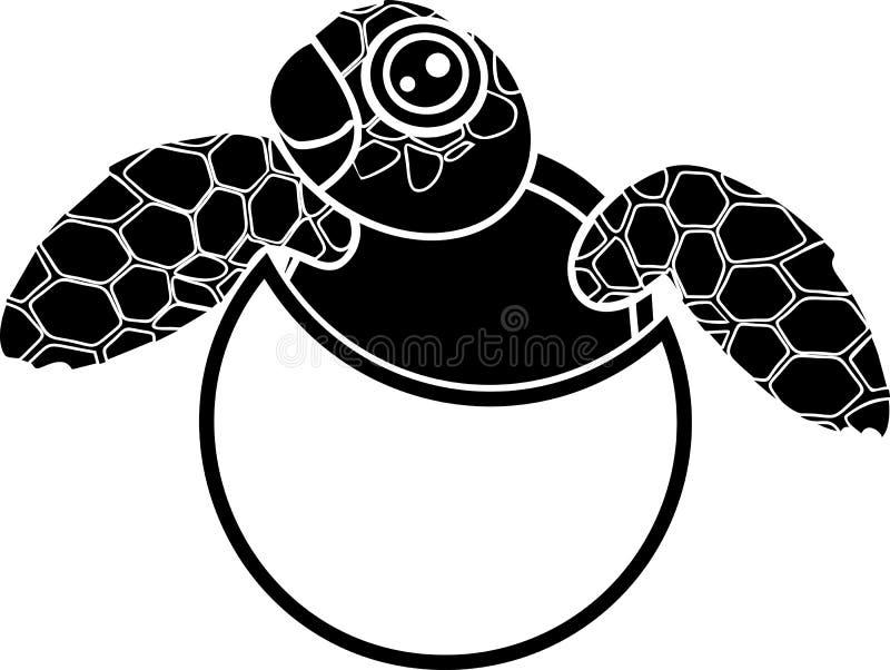 Silhueta preta da tartaruga de mar bonito dos desenhos animados que choca fora do ovo ilustração royalty free