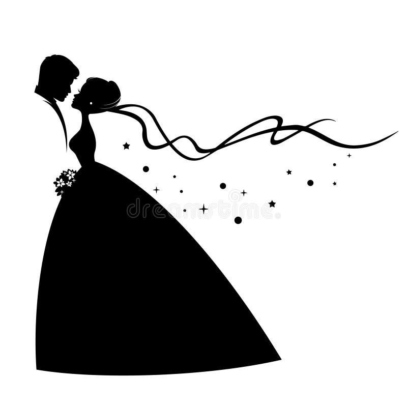 Silhueta preta de beijar o noivo e a noiva ilustração stock
