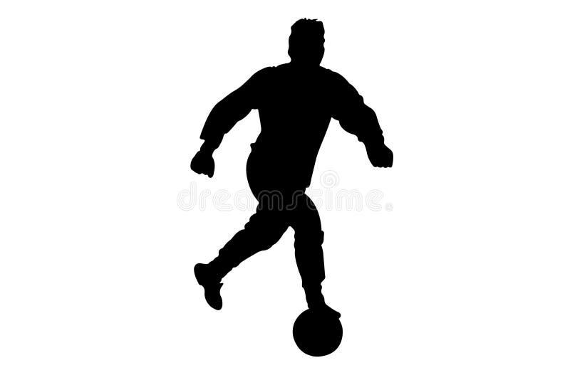 Silhueta preta de jogador de futebol ilustração royalty free