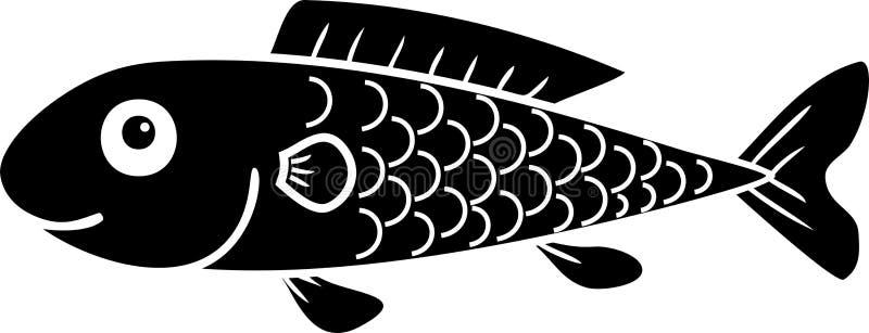 Silhueta preta de peixes bonitos dos desenhos animados ilustração stock