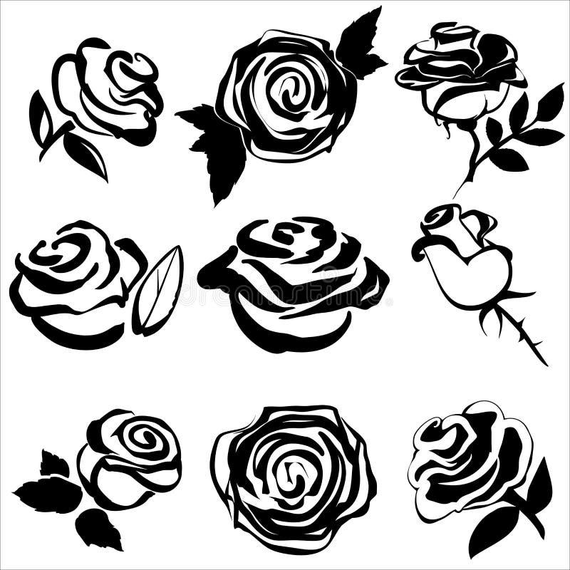 Silhueta preta de símbolos ajustados da rosa ilustração stock