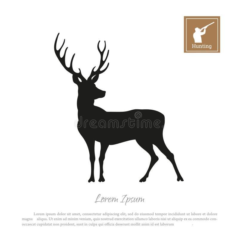 Silhueta preta de um cervo em um fundo branco Caçador do ícone com uma arma ilustração royalty free