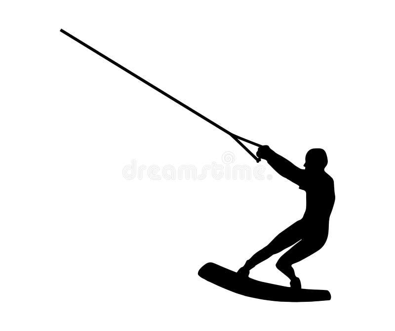 Silhueta preta de um homem no wakeboard no fundo branco ilustração do vetor