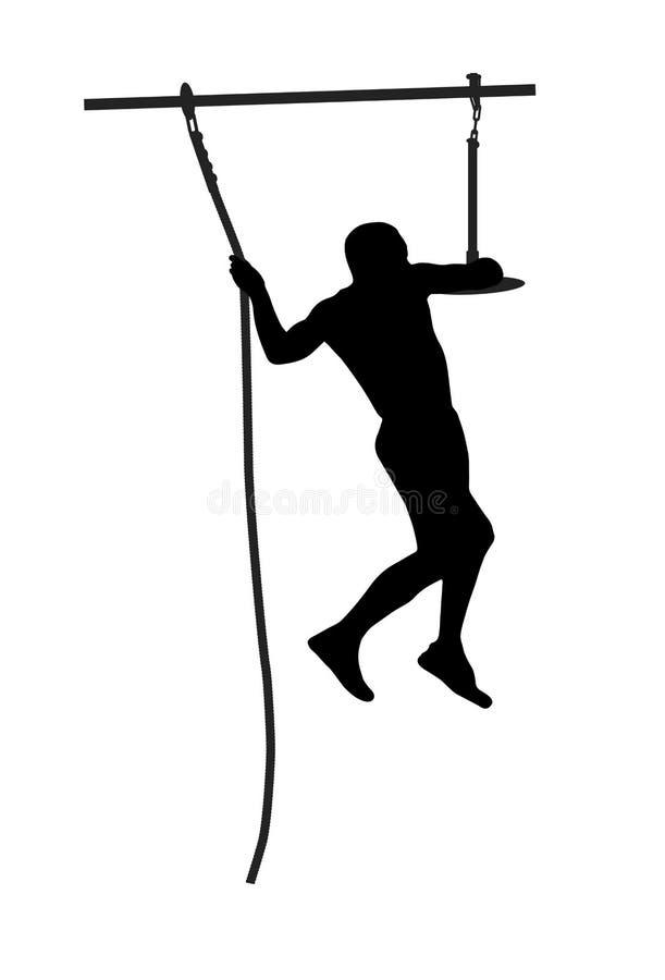 Silhueta preta de um homem que supera o obstáculo ilustração stock