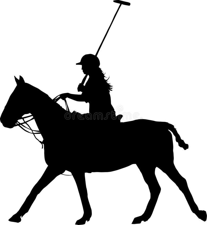 Silhueta preta de um jogador e de um cavalo do polo da mulher ilustração royalty free