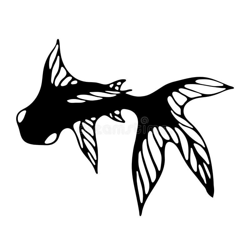Silhueta preta de um peixe com grandes aletas Imagem do vetor ilustração stock