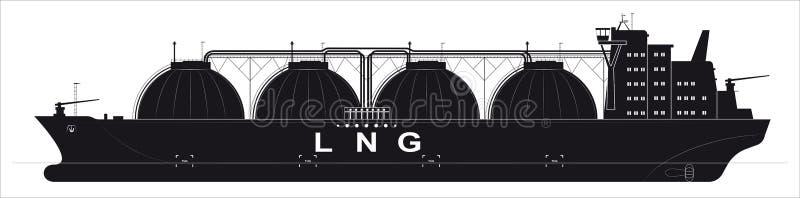 Silhueta preta de um petroleiro enorme do oceano para o gás liquefeito Detalhes seguidos Vista lateral ilustração stock