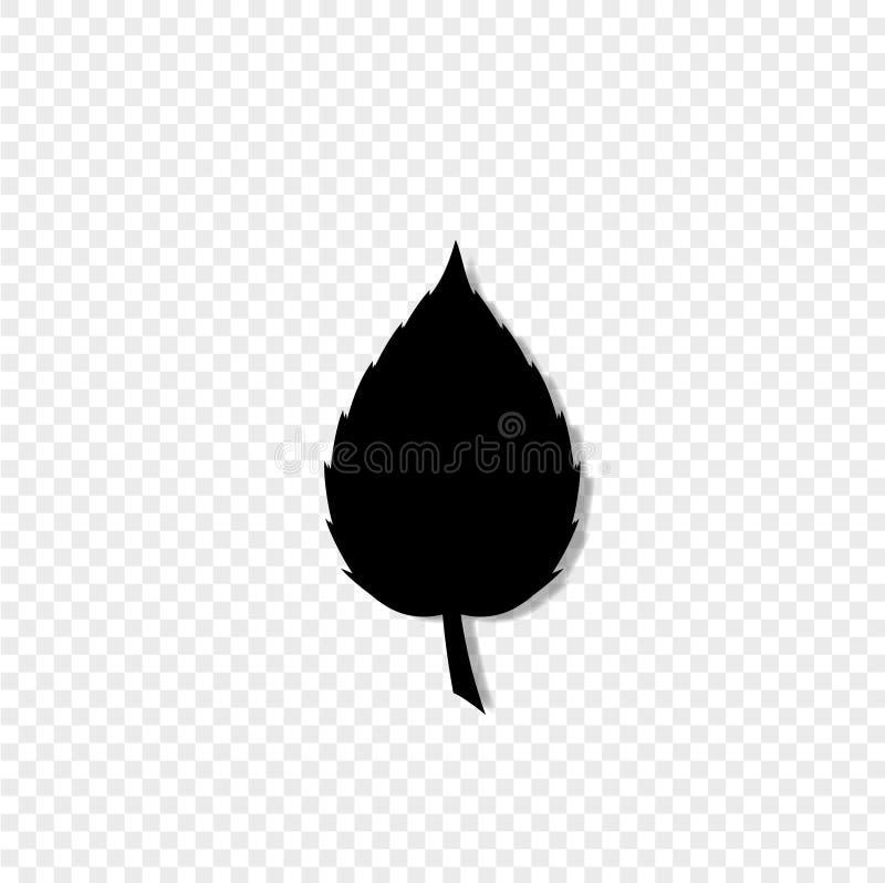 Silhueta preta do único ícone da folha em transparente ilustração stock