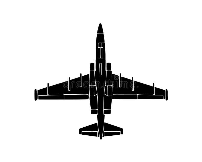 Silhueta preta do avião militar no fundo branco Avião de combate Ilustração do vetor ilustração stock