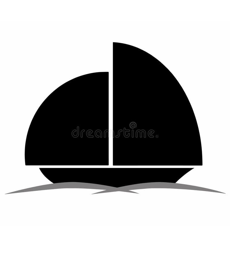 Silhueta preta do barco ilustração stock