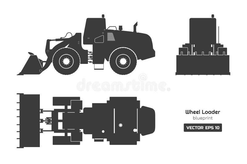 Silhueta preta do carregador da roda no fundo branco Opinião da parte superior, a lateral e a dianteira Modelo diesel do escavado ilustração royalty free