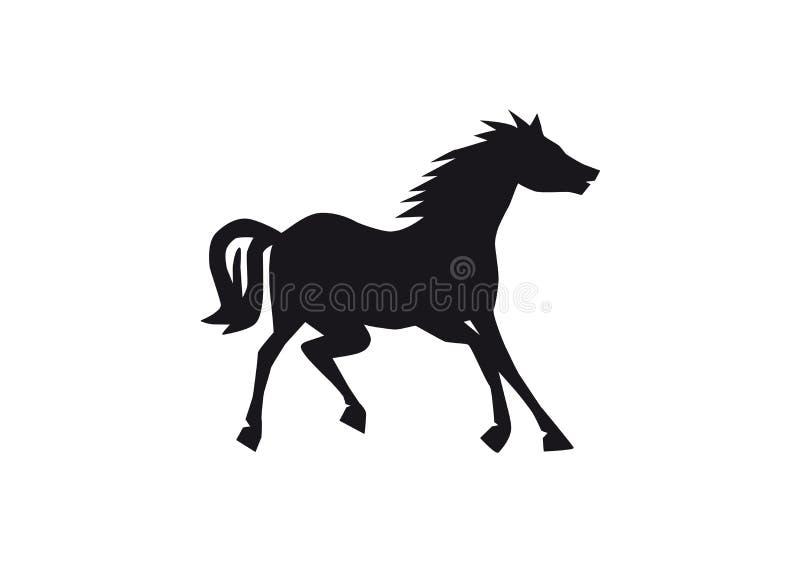 Silhueta preta do cavalo isolada no fundo branco, animal feliz que começa correr, única criatura engraçada ilustração royalty free