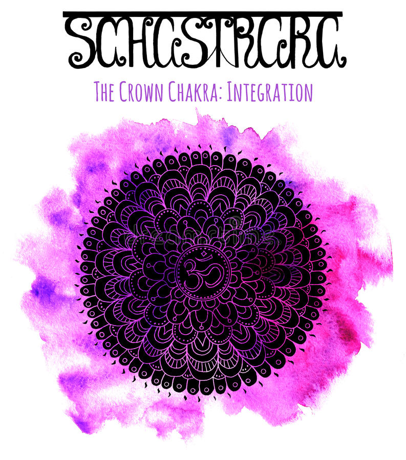 Silhueta preta do chakra da coroa ilustração do vetor