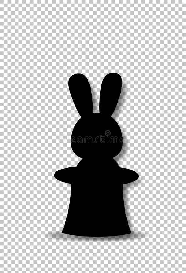 Silhueta preta do coelho que senta-se no chapéu alto mágico do cilindro ilustração do vetor