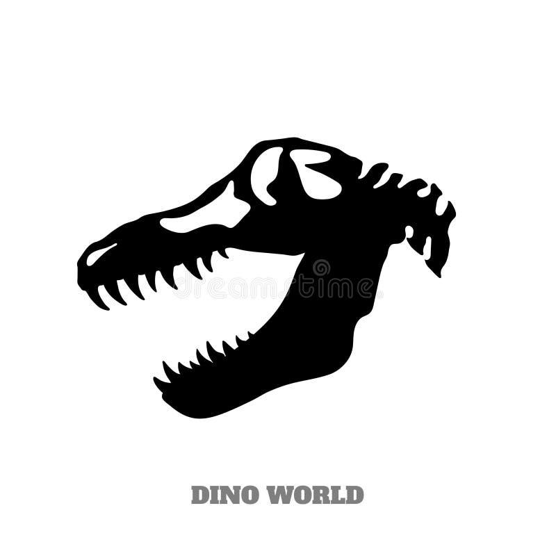 Silhueta preta do crânio do dinossauro no fundo branco imagem do monstro jurássico Ícone de Dino ilustração stock