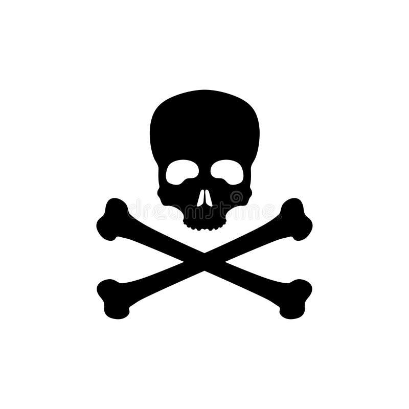 Silhueta preta do crânio e dos ossos no fundo branco Bandeira de pirata Jolly Roger Ícone do veneno ilustração stock
