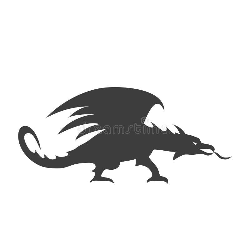 Silhueta preta do dragão com chama ilustração stock