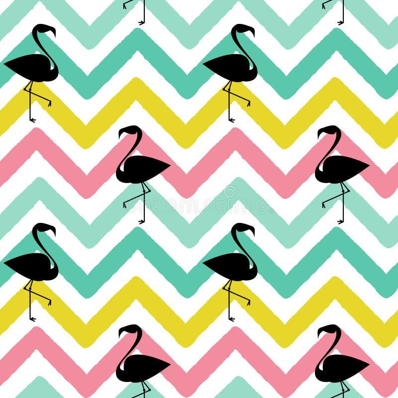 Silhueta preta do flamingo na ilustração sem emenda do fundo do teste padrão colorido abstrato da viga ilustração do vetor