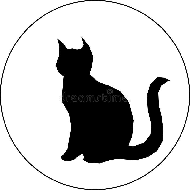 Silhueta preta do gato no fundo branco ilustração do vetor
