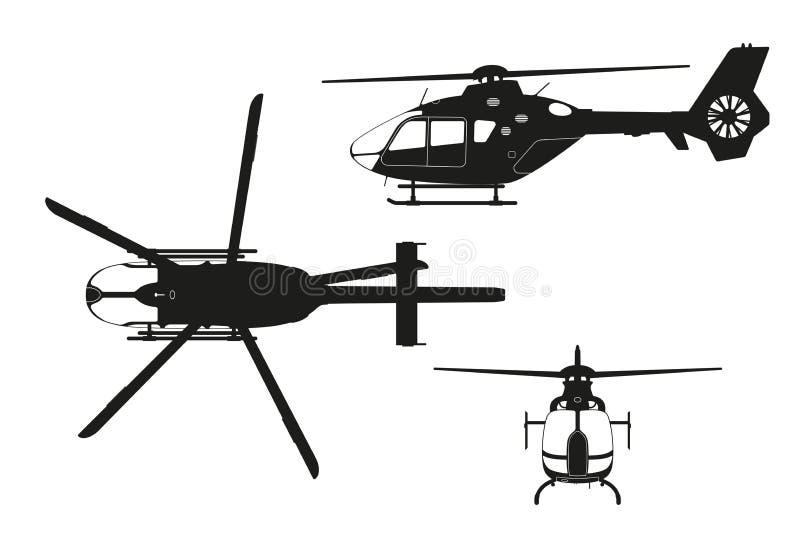 Silhueta preta do helicóptero no fundo branco Parte superior, lado, vista dianteira Desenho isolado ilustração royalty free