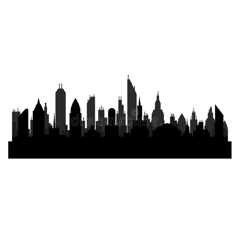 Silhueta preta do lanscape da cidade com os arranha-céus na ilustração branca, conservada em estoque do vetor ilustração do vetor