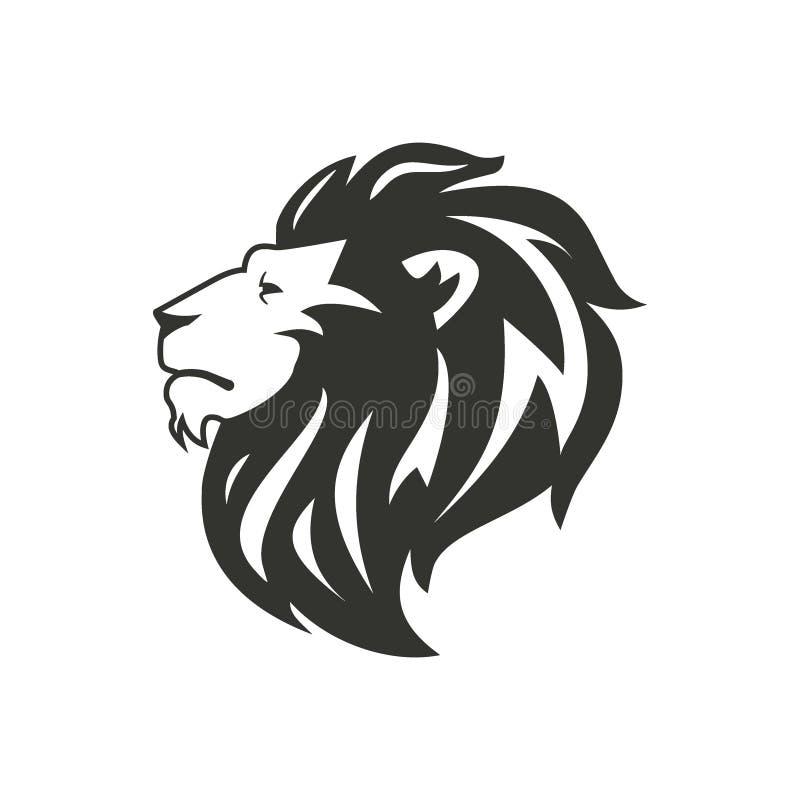 Silhueta preta do leão isolada no fundo branco ilustração stock
