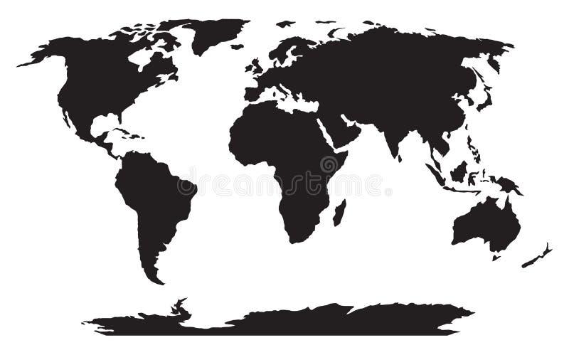 Silhueta preta do mapa do mundo ilustração royalty free