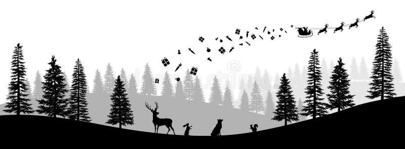 Silhueta preta do Natal Panorama do trenó da equitação de Santa Claus com cervos Paisagem do ano novo dos invernos Cena da flores ilustração royalty free