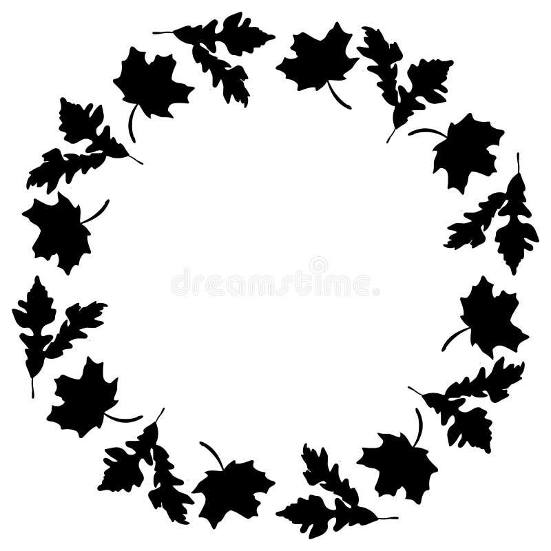 Silhueta preta do ornamento da grinalda das folhas de outono Elemento do projeto do teste padrão da queda ilustração stock