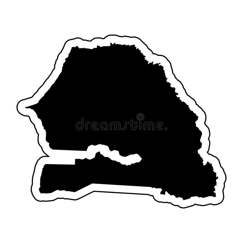 Silhueta preta do país Senegal com a linha de contorno ou ilustração stock