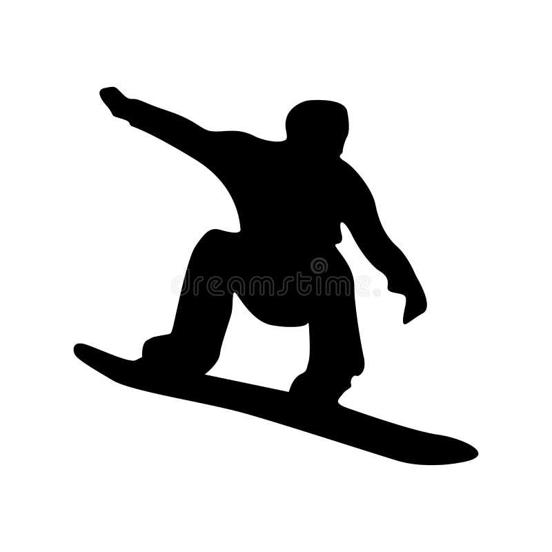 Silhueta preta do Snowboarder ilustração stock