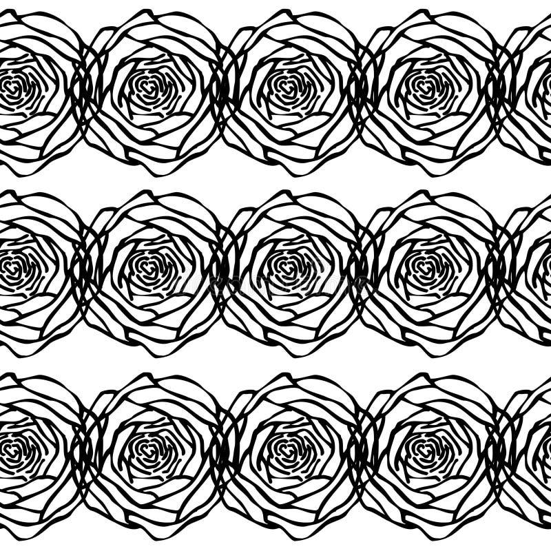 Silhueta preta do teste padrão sem emenda das rosas ilustração do vetor