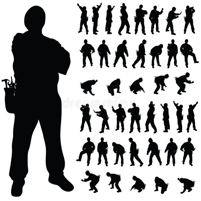 Silhueta preta do trabalhador em várias poses ilustração stock