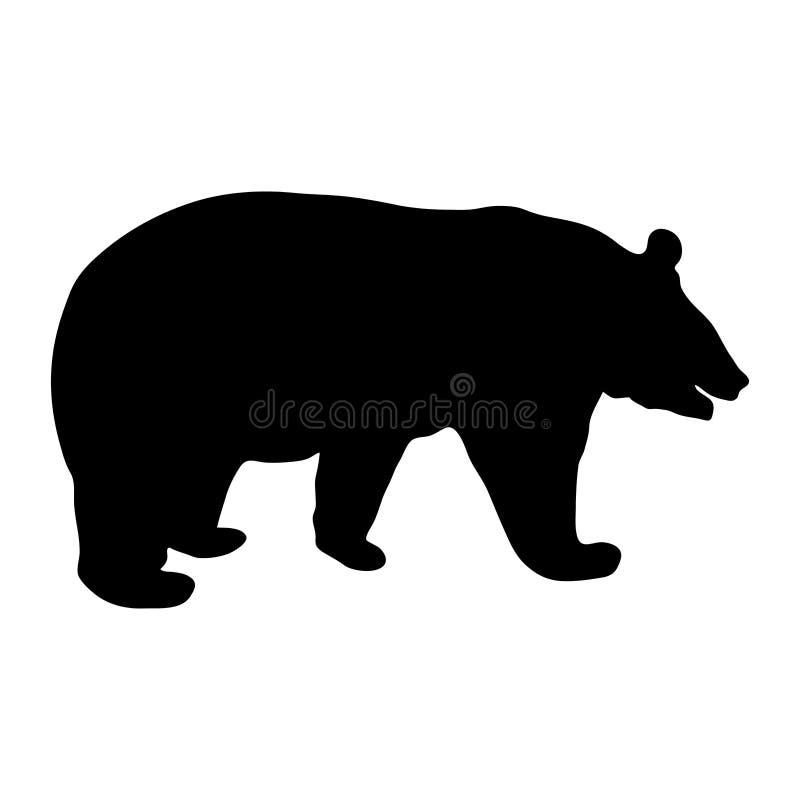 Silhueta preta do urso de corrida na ilustração branca do vetor do fundo ilustração do vetor