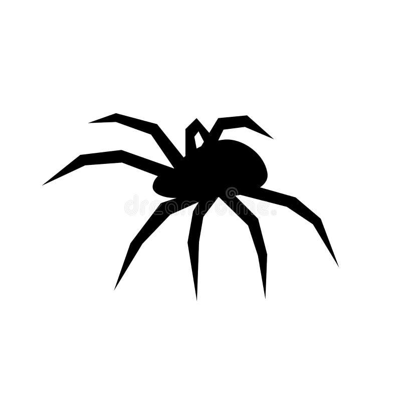 Silhueta preta do vetor da aranha Viúva preta Ilustração lisa do vetor ilustração stock