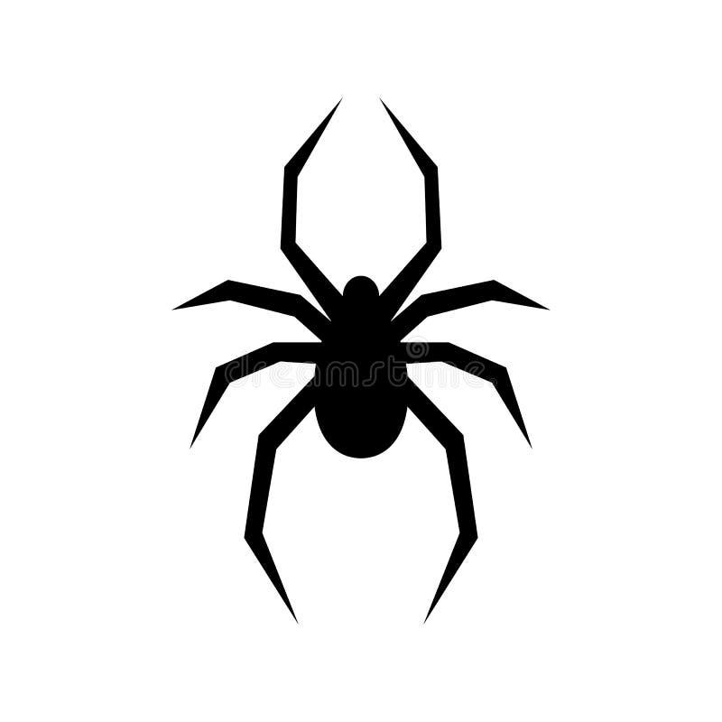 Silhueta preta do vetor da aranha Viúva preta Ilustração lisa do vetor ilustração do vetor
