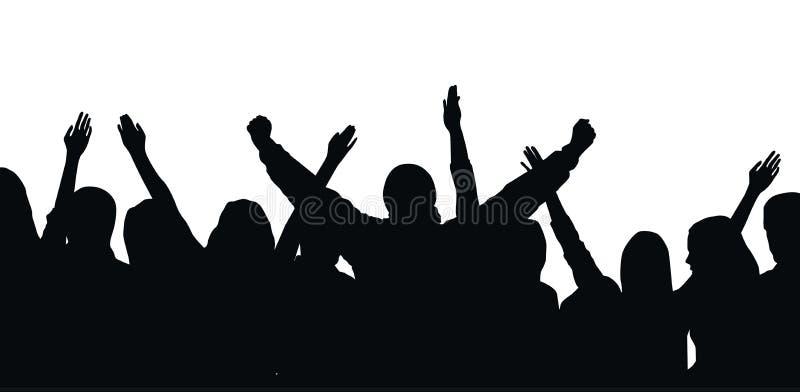 Silhueta preta do vetor da multidão cheering isolada no fundo branco - festival, esporte, partido ilustração royalty free