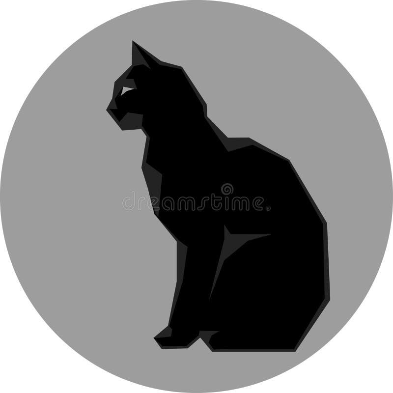 Silhueta preta do vetor selvagem escuro do gato ilustração royalty free