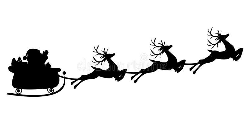 Silhueta preta do voo de Santa em um trenó com rena ilustração royalty free