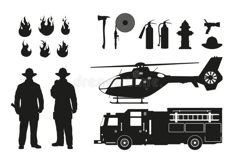 Silhueta preta dos sapadores-bombeiros e do equipamento da luta contra o incêndio no fundo branco Helicóptero e carro dos fireman ilustração royalty free