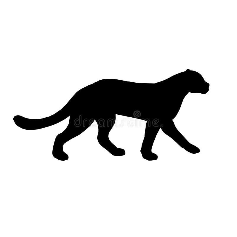 Silhueta preta lisa do vetor da pantera do leopardo ilustração royalty free