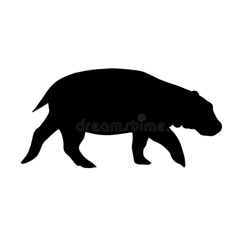 Silhueta preta lisa do vetor do hipopótamo ilustração royalty free