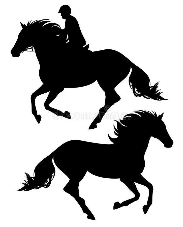 Silhueta preta running do vetor do cavalo e do cavaleiro ilustração stock