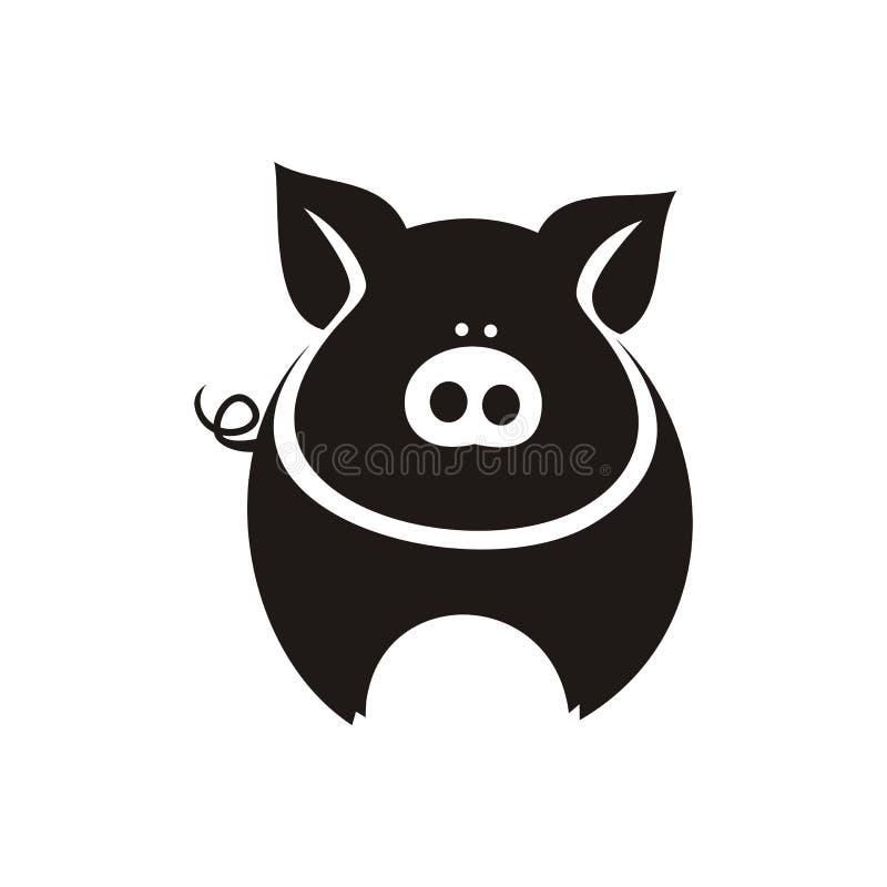 Silhueta preta simples de um porco gordo no fundo branco fotografia de stock royalty free