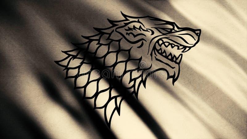 Silhueta preta sorrir forçadamente do lobo na bandeira abstrata de vibração da cor bege, laço sem emenda Cabeça do direwolf como  fotografia de stock