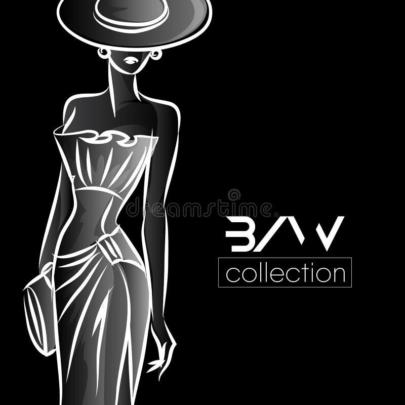 Silhueta preto e branco da mulher da forma, modelo de forma bonito na ilustração preta do logotipo do fundo ilustração do vetor